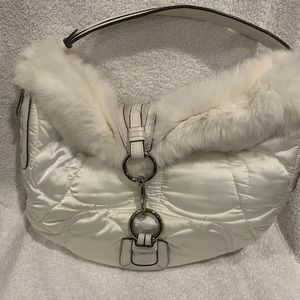 white coach fur soho shoulder bag #3587